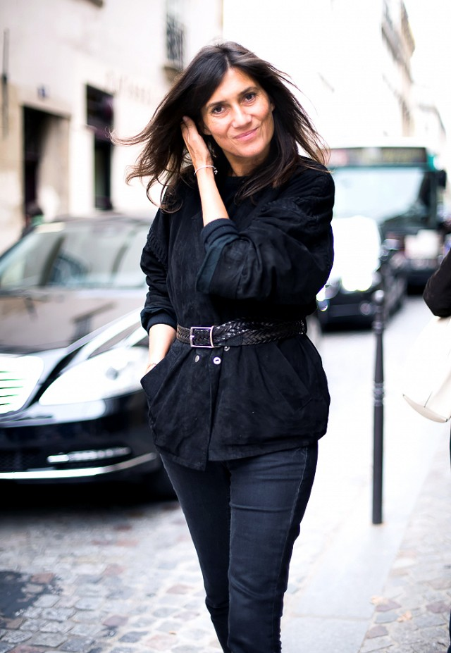 French Vogue editor Emmanuelle Alt Photo credit: whowhatwear.co.uk http://www.whowhatwear.co.uk/fashion-trend-belted-jacket-coat-emmanuelle-alt-french-vogue-editor-2014/slide2