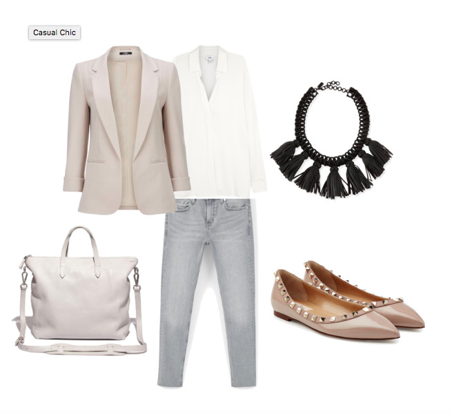 72fd23b2035 Classic blazer + jeans + white blouse or shirt accessories with statement  necklace